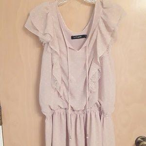 La Chapelle Pink polka dot lace dress lolita XS